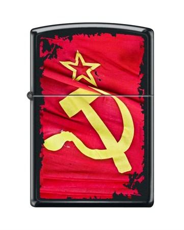 Широкая зажигалка Zippo SOVIET FLAG SICKLE 218 - фото 6577