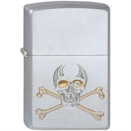 Широкая зажигалка Zippo Skull gold 205 - фото 6761