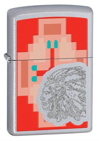 Широкая зажигалка Zippo Indian chief 28068 - фото 6764
