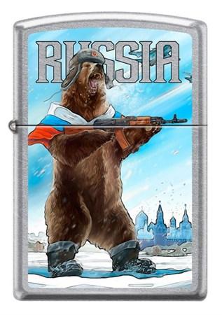 Зажигалка Zippo Russian Bear с покрытием Street Chrome 207 Russian Bear - фото 6876