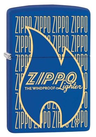 Широкая зажигалка Zippo Logo Variation с покрытием Blue Matt 29220 - фото 6916