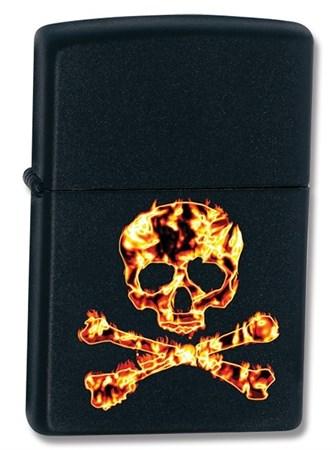 Зажигалка широкая Zippo Skull Flame 73401 - фото 7356