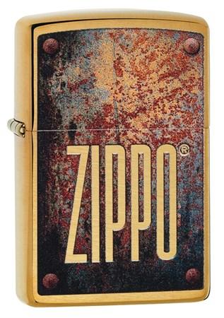 Зажигалка Zippo Rusty Plate с покрытием Brushed Brass, 29879 - фото 7559
