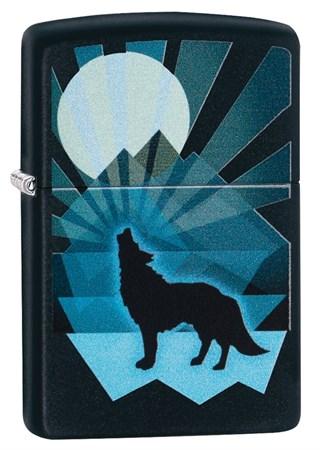 Зажигалка Zippo Wolf and Moon с покрытием Black Matte, 29864 - фото 7578