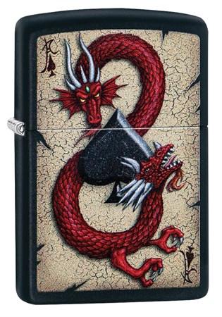 Зажигалка Zippo Dragon Ace с покрытием Black Matte, 29840 - фото 7585