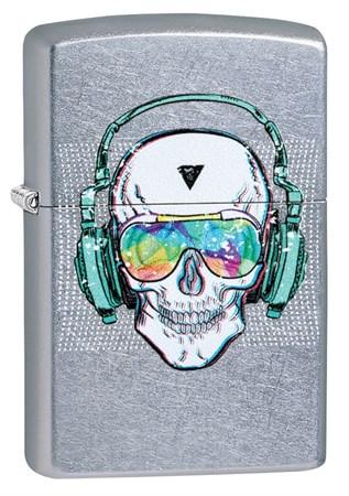 Зажигалка Zippo Skull Headphone с покрытием Street Chrome™, 29855 - фото 7603