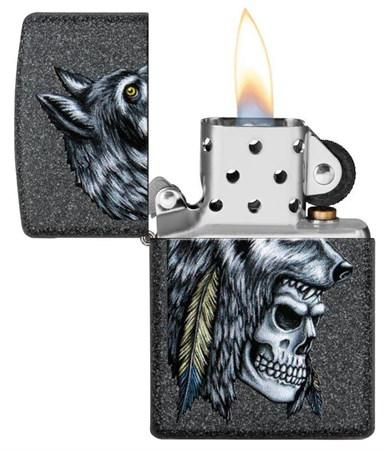 Зажигалка Zippo Wolf Skull с покрытием Iron Stone™, 29863 - фото 7624