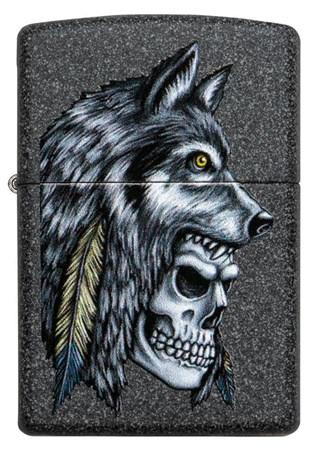 Зажигалка Zippo Wolf Skull с покрытием Iron Stone™, 29863 - фото 7626