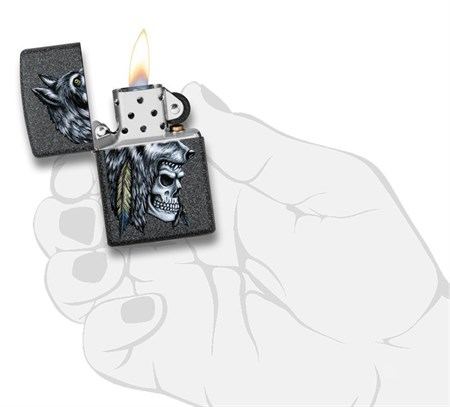 Зажигалка Zippo Wolf Skull с покрытием Iron Stone™, 29863 - фото 7627