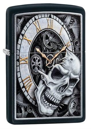 Зажигалка Zippo Skull Clock с покрытием Black Matte, 29854 - фото 7629