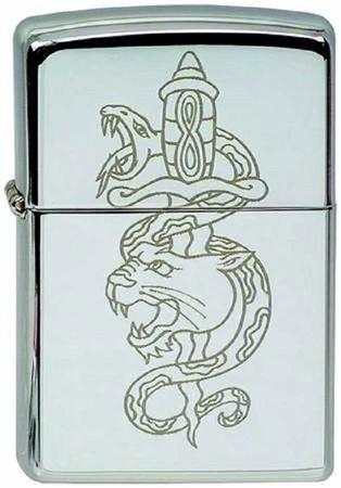 Широкая зажигалка Zippo Snake/lion 232 - фото 8236