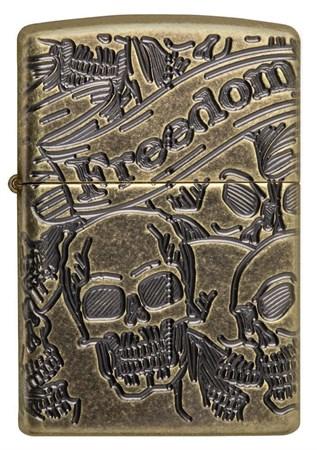 Зажигалка Zippo rmor™ Freedom Skull Antique Brass 49035 - фото 8288