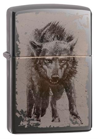 Зажигалка Zippo Wolf Design с покрытием Black Ice® 49073 - фото 8457