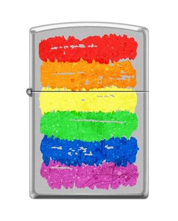 Зажигалка Zippo Радуга c с покрытием Satin Chrome™ 205_rainbow - фото 8616