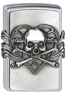 Зажигалка Zippo 200 Skull with Heart Emblem - фото 9340