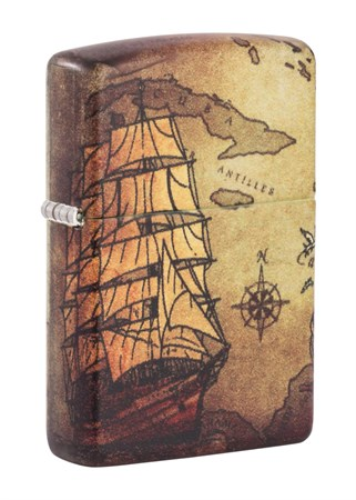 Зажигалка Zippo Pirate Ship с покрытием White Matte 49355 - фото 9408