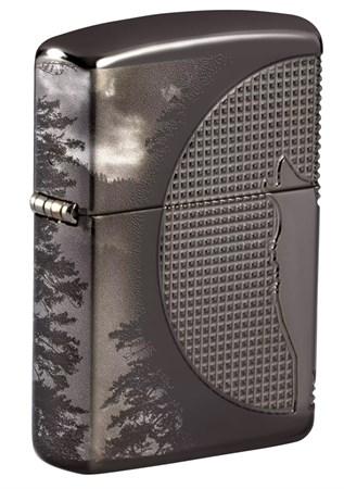 Зажигалка ZIPPO Armor Wolf  с покрытием High Polish Black Ice 49353 - фото 9438