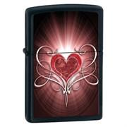 Широкая зажигалка Zippo Love Heart Black Matte 28043