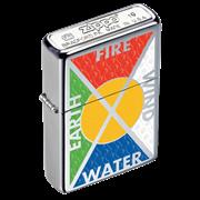 Широкая зажигалка Zippo Earth, Fire, Wind, Water 24812