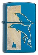 Широкая зажигалка Zippo Jumping Dolphins 24296