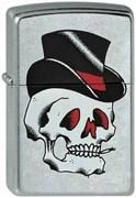 Широкая зажигалка Zippo Black Top Skull 212