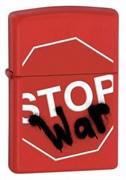 Широкая зажигалка Zippo Stop war 28140