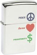 Широкая зажигалка Zippo Peace Love Prosperity 24714