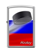 Широкая зажигалка Zippo RUSSIAN HOCKEY PUCK 200