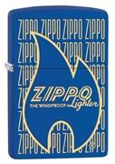 Широкая зажигалка Zippo Logo Variation с покрытием Blue Matt 29220