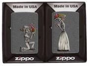Набор из двух зажигалок ZIPPO Влюбленные зомби с покрытием Iron Stone 28987