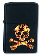 Зажигалка широкая Zippo Skull Flame 73401