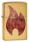 Зажигалка Zippo Rusty Flame с покрытием Brushed Brass, 29878