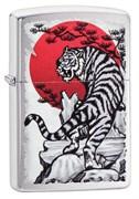 Зажигалка Zippo Asian Tiger с покрытием Brushed Chrome, 29889