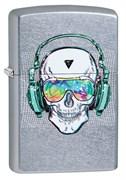 Зажигалка Zippo Skull Headphone с покрытием Street Chrome™, 29855