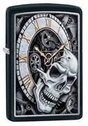Зажигалка Zippo Skull Clock с покрытием Black Matte, 29854