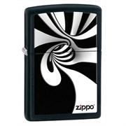 Широкая зажигалка Zippo Black & White Spiral 28297