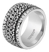 Кольцо Zippo серебристое с цепочным орнаментом, диаметр 22,3 мм, 2006569