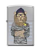 Зажигалка Zippo Лев-моряк с покрытием High Polish Chrome 250_lion