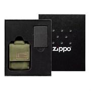 Подарочный набор ZIPPO: зажигалка Black Crackle и чехол 49400